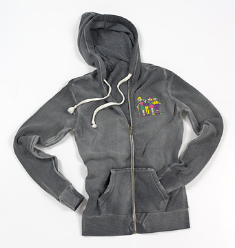 FOURSOME LADIES EMBROIDERED FLEECE ZIPPERED HOODIE