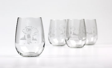 WINE GLASSES LADY GOLF DESIGN SET OF 4